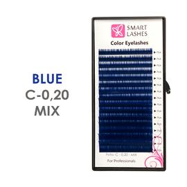Niebieskie sztuczne rzęsy - C - 0,20 mm x 8-15 mm – w pudełku – 16