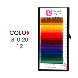 Kolorowe rzęsy - B - 0,20 mm x 12 mm – w pudełku – 12