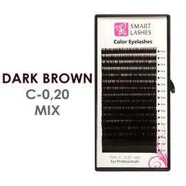 Ciemnobrązowe sztuczne rzęsy - C - 0,20 mm x 8-15 mm – w pudełku – 12