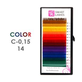 Kolorowe rzęsy - C - 0,15 mm x 14 mm – w pudełku - 12