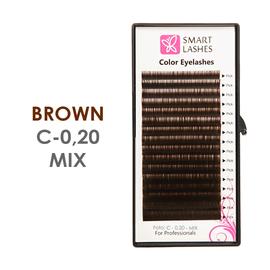 Brązowe sztuczne rzęsy - C - 0,20 mm x 8 - 15 mm – MIX w pudełku – 16 lines